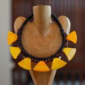 NWOT Handmade Tribal Bone Statement Necklace
